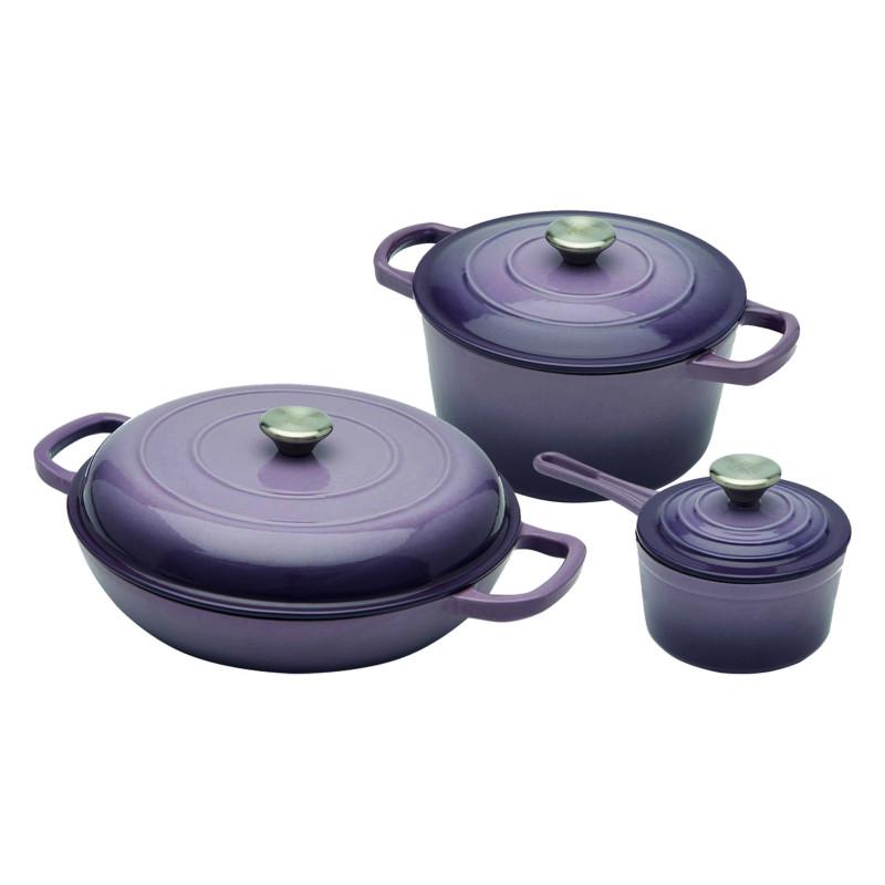 Emaliuotų ketaus indų rinkinys (violetinis)