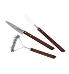 Griliaus įrankių rinkinys 3vnt (griliaus šakutė, šepetys, peilis)