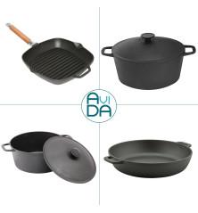 Ketaus indų rinkinys - puodas, keptuvė ir grill keptuvė
